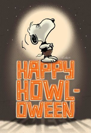 werewolf snoopy howls at the moon halloween card snoopy shows his affection for the one - Halloween Card Quotes