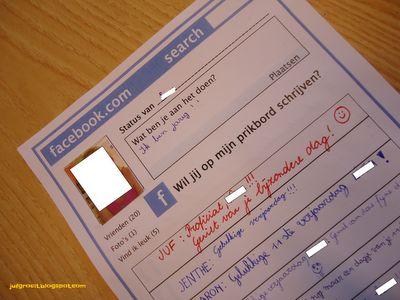 Facebook profiel om in te vullen als een leerling jarig is. Je status aanpassen en leuke reacties schrijven.