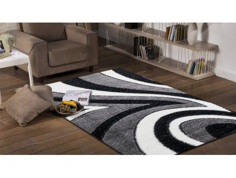 Le tapis shaggy moderne gris et noir vous séduira grâce à son design en vague, il conviendra parfaitement pour le salon, la chambre ou le couloirs, tapis pas cher
