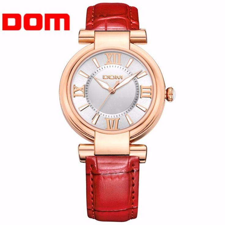 DOM PU Leather Strap Brand Luxe Fashion Casual Quartz Unieke Stijlvolle Hollow Skeleton Horloges Lederen Sport Lady Horloges