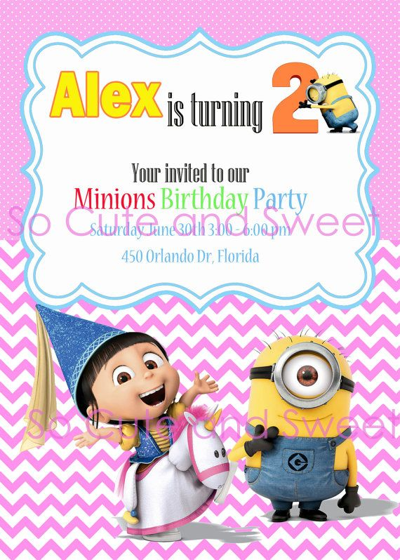 DESPICABLE ME 2 Birthday Party Printable Invitation, Girl ...