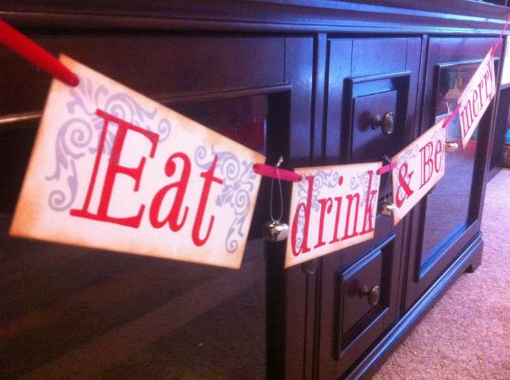 Christmas Decoration Eat Drink and Be Merry Christmas Banner With Silver Bells For Christmas Decoration / Red and Silver. $20.00, via Etsy.