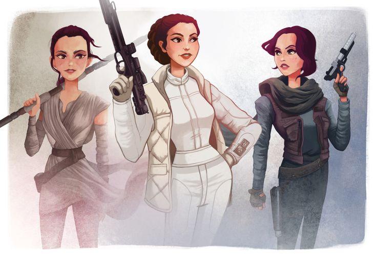 Women of Star Wars by Leann Hill Art via Tumblr.