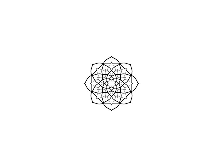 Geometric mandala Flower blackwork design inspiration.