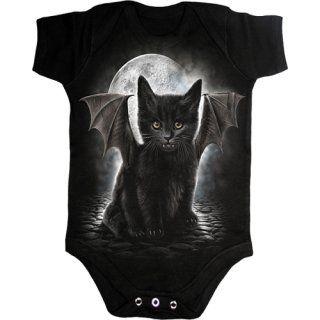 Body bébé gothique noir à chat noir avec ailes et dents de vampire