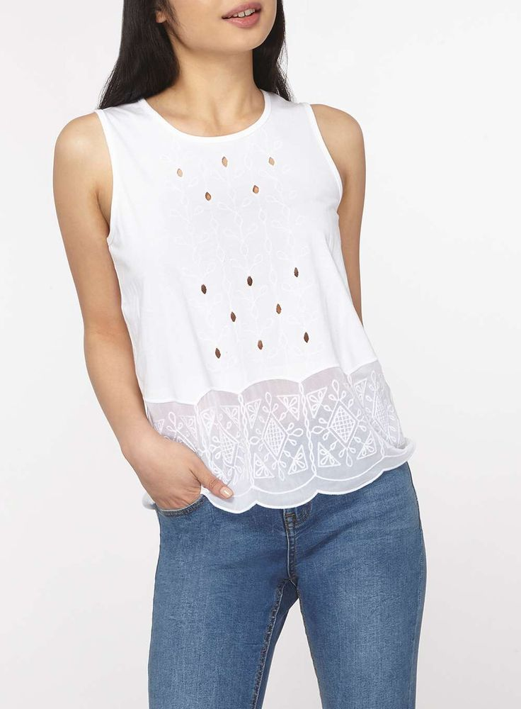Womens Petite White Embroidered Shell Top- White