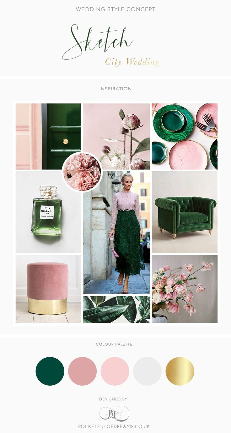 Bridal Inspiration Boards #87 ~ Rose Quartz and Malachite (and Sketch London)