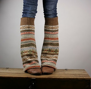 Sweaters made into legwarmers or boot socks!