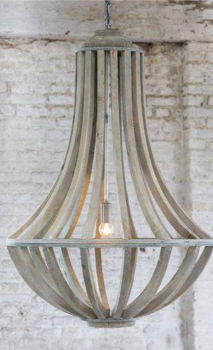Kroonluchter van het merk Light & Living  Gemaakt van hout en in de kleur grijs