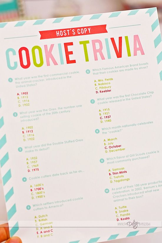 Trivia and other fun ideas to host the ultimate Christmas Cookie Swap Party. Even has recipe cards to share!!