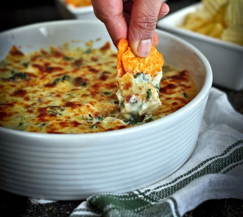 Baked Three Cheese Spinach and Artichoke Dip