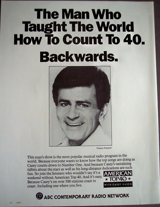 Casey Kasem's American Top 40 was a legendary weekly American radio program.