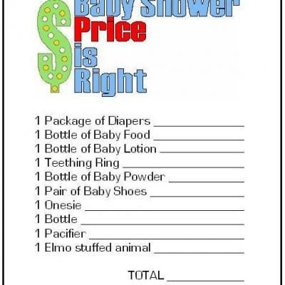 "Price is Right Free Printable {Baby Shower Game}    This fun baby shower game will give your party a taste of the hit television show, ""The Price is Right""!  Your guests will have fun guessing the price of baby items.   The free printable is ready to print as many needed for your party guests."