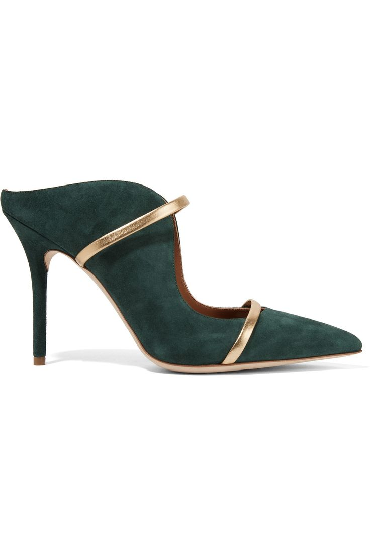 MALONE SOULIERS Maureen Leather-Trimmed Suede Pumps. #malonesouliers #shoes #pumps