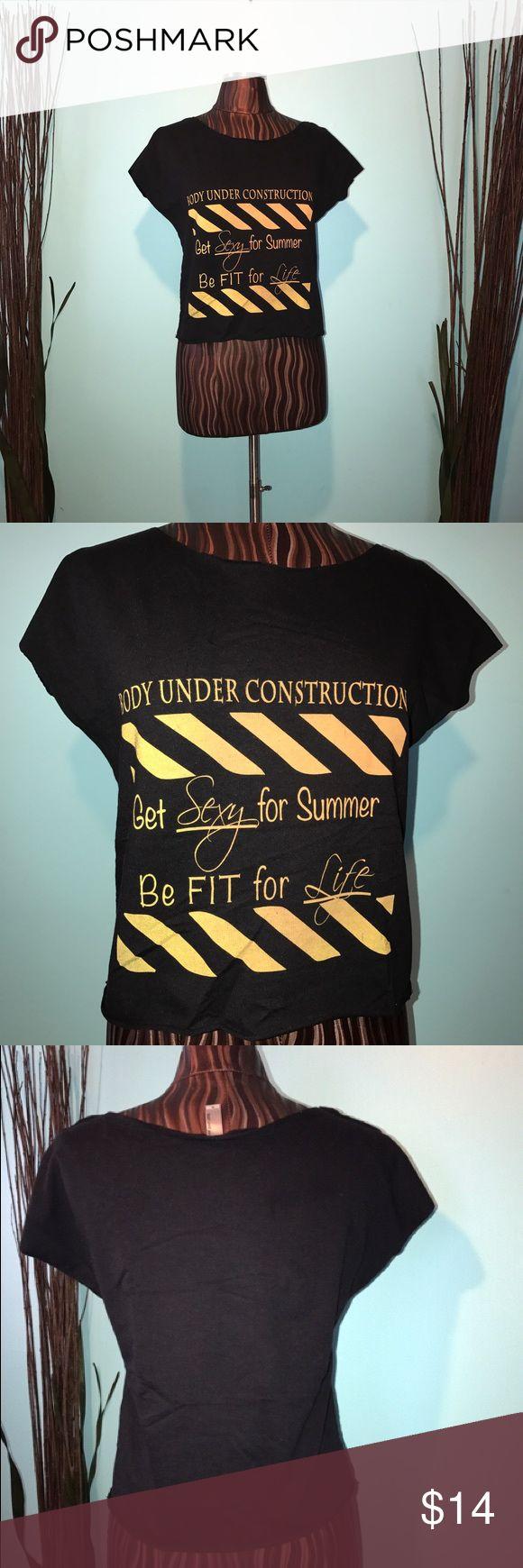 Body Under Construction Crop Top Size Medium. Black and Yellow Gradient Crop Top Note To Self Apparel Tops Crop Tops