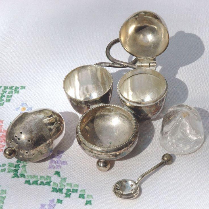 A personal favourite from my Etsy shop https://www.etsy.com/uk/listing/289869519/travel-condiment-set #antiquecondiment set #vintagetableware #silvertableware