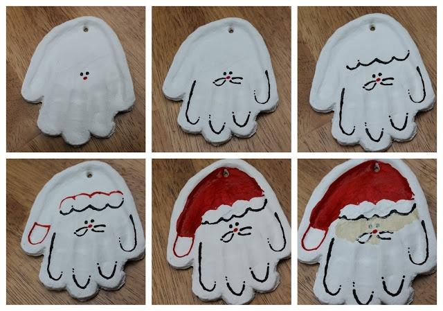 DIY Christmas hand print ornaments