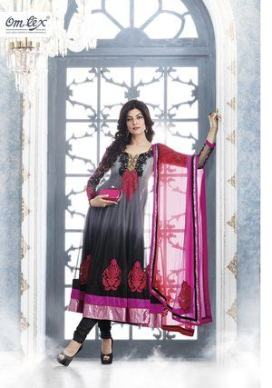 Black/Red Anarkali Suit