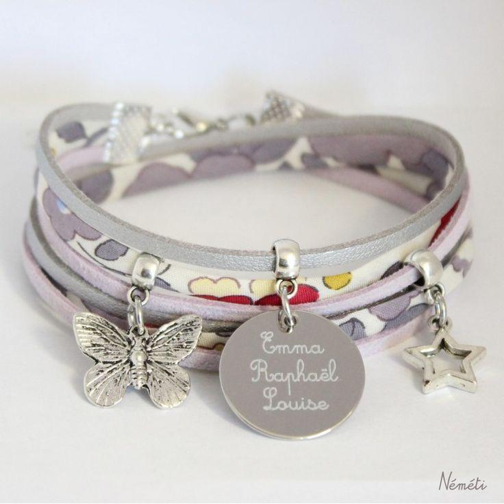 Bracelet liberty gravé personnalisé tissu Betsy Pierre de Lune , Néméti  Bijoux