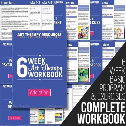 The Art Therapy Addiction Workbook outlines a recovery program delivered over 6 weeks. Each week includes: Psychoeducation Art Therapy Exercises A detailed art therapy exercise including instructions, image, client reflections and video of the art therapy exercise being created.