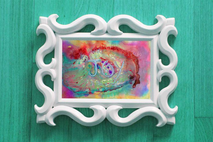 """Quadro astratto """"gioia al mondo"""" stampa, arte pensiero positivo, messaggio di amore al mondo, stampa artistica, energia del colore di laKuki su Etsy"""