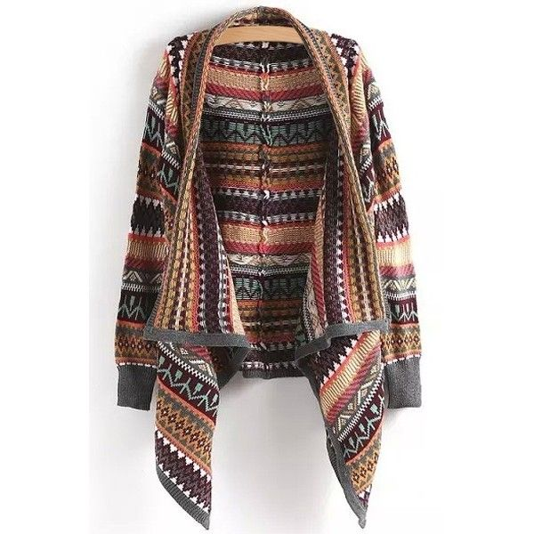 Tribal Pattern Waterfall Cardigan (€24) ❤ liked on Polyvore featuring tops, cardigans, tribal pattern cardigan, tribal top, tribal cardigan, tribal print cardigan and waterfall tops