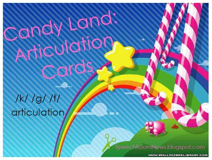 CandyLand Articulation Cards: /k/ /g/ /f/ /s/ /z/ /s/ blends /l/ /sh/ /ch/ /th/ vocalic /r/ From SpeechRoomNews!  Awesome site!Candies Land, Slp, Speech Therapy, Room News, Candies Town, Candyland, Cards Games, Speech Room, Candy Land