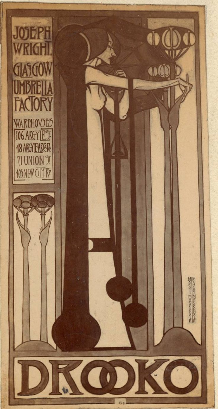 poster for drooko umbrellas frances margaret macdonald c 1895 96 glasgow style and the. Black Bedroom Furniture Sets. Home Design Ideas