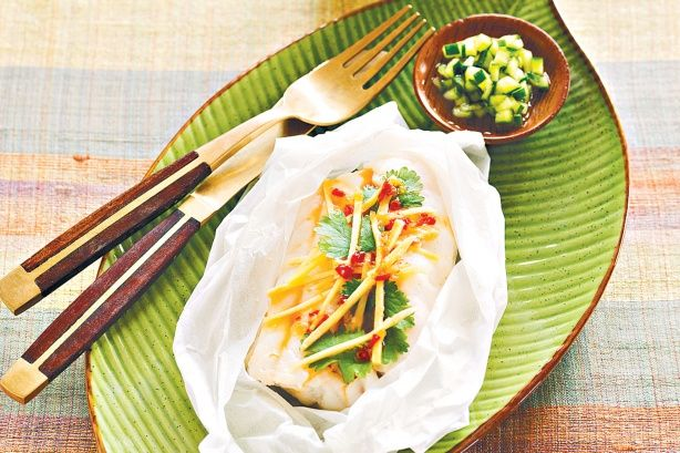 Steamed fish with ginger, coriander and kaffir lime leaves