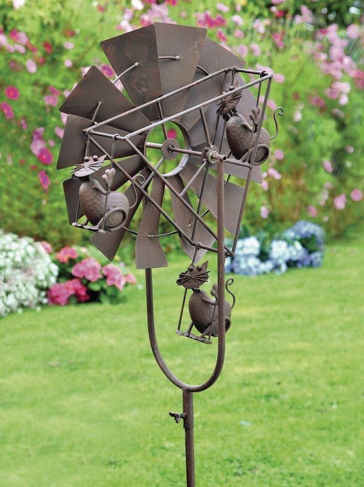 Windrad Gartenstecker Katzen Windmühle Windspiel Garten Dekoration Gartendeko