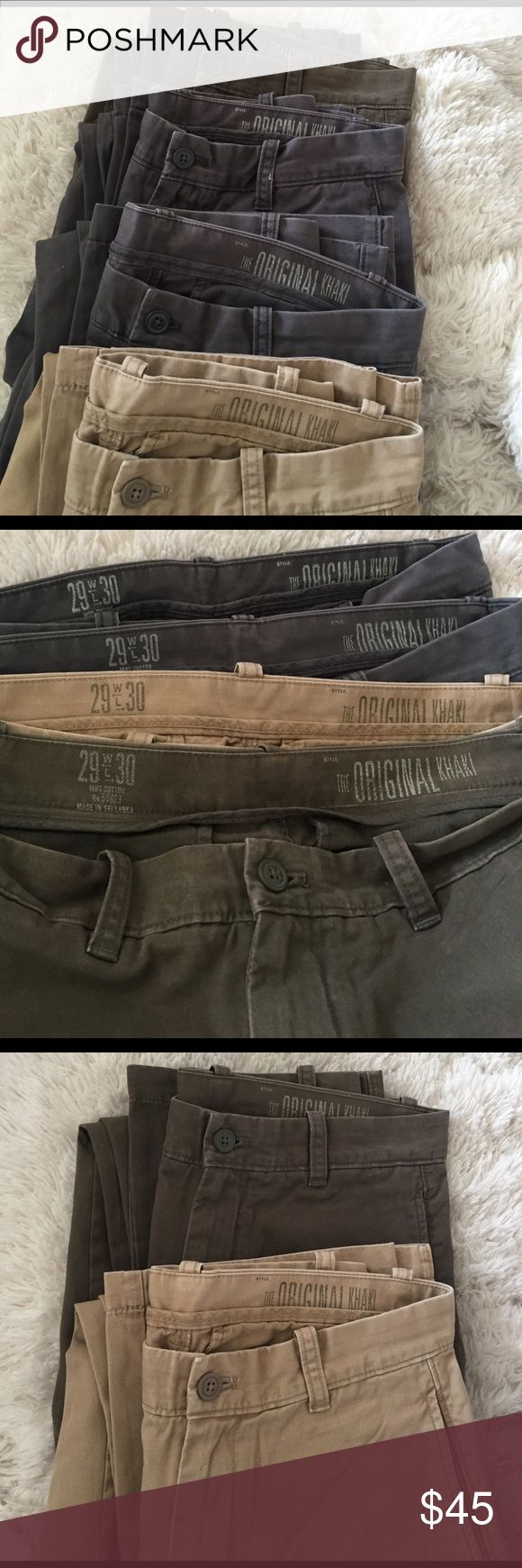Gap Men Khaki Pants Here are four exact same style Gap Men Khaki Pants, color: brown, tan, two grey. Sizes are all the same as 29x30. Welcome for offers 😊👍🏻 GAP Pants Chinos & Khakis