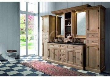 ll-bath-032w-landelijke cottage stijl badkamer met blauwsteen table 2 manden en spiegels en verlichting