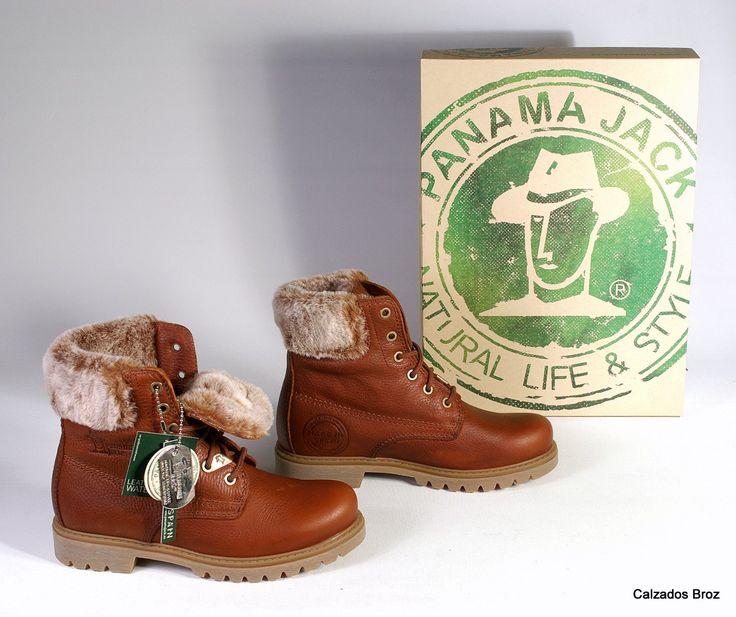 Colección Panama Jack. Bota de piel con cordón  e pelo - Marrón. (muller).