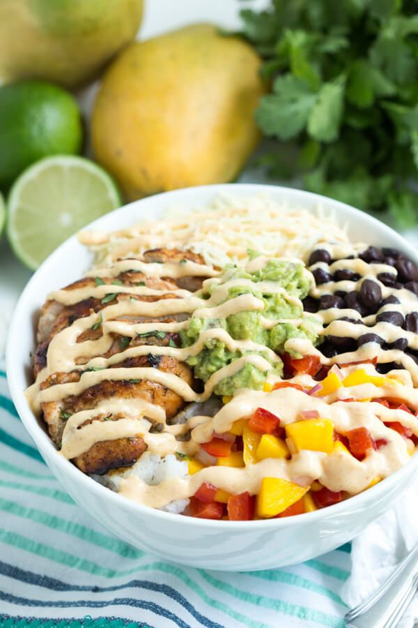 Chipotle Lime Chicken Taco Bowl with Mango Chipotle Sauce @adamideast #Dairymonth