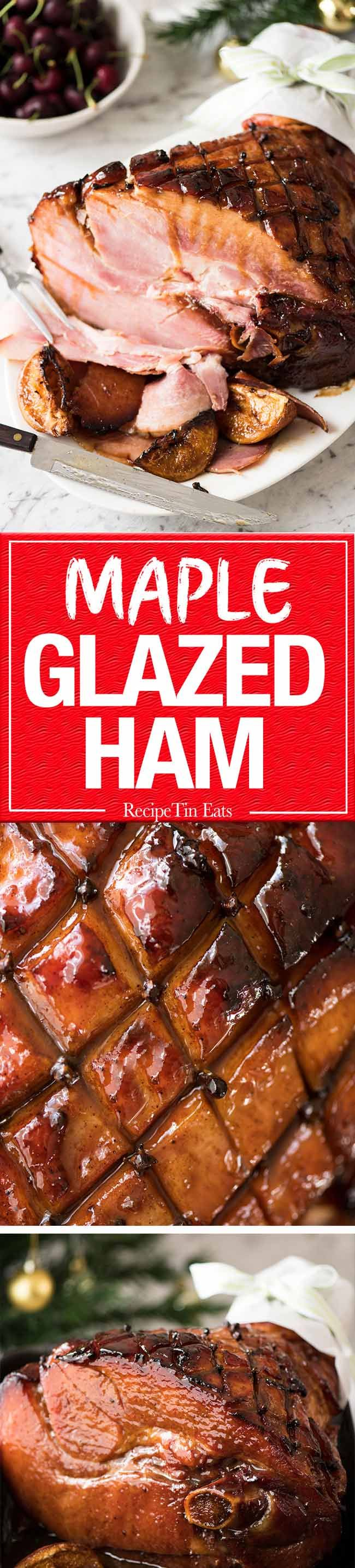 This Baked Ham with Maple Brown Sugar Glaze is a spectacular, EASY centrepiece for your Christmas table! www.recipetineats.com