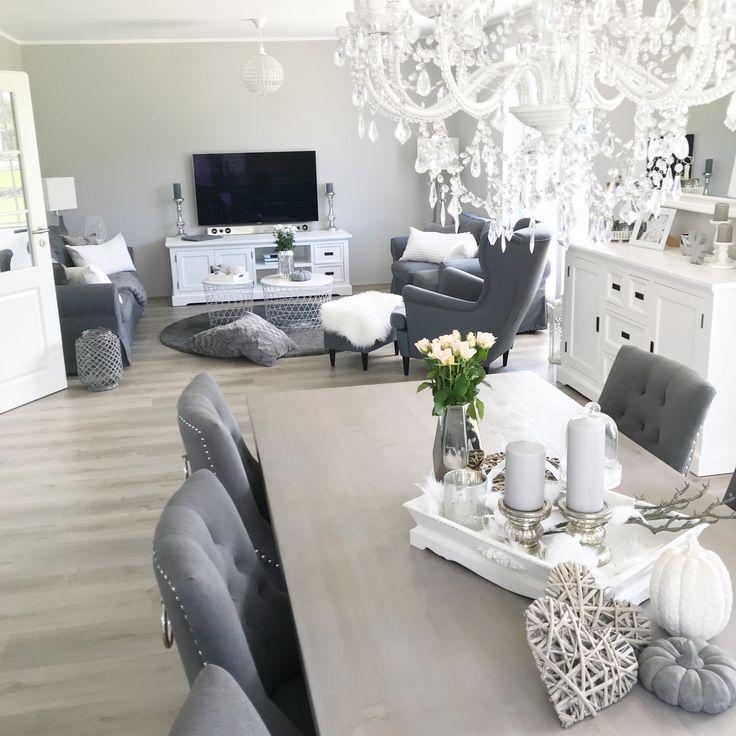 Instagram: wohn.emotion Landhaus Esszimmer Esszimmer modern grau weiß   – Edel & Landhaus