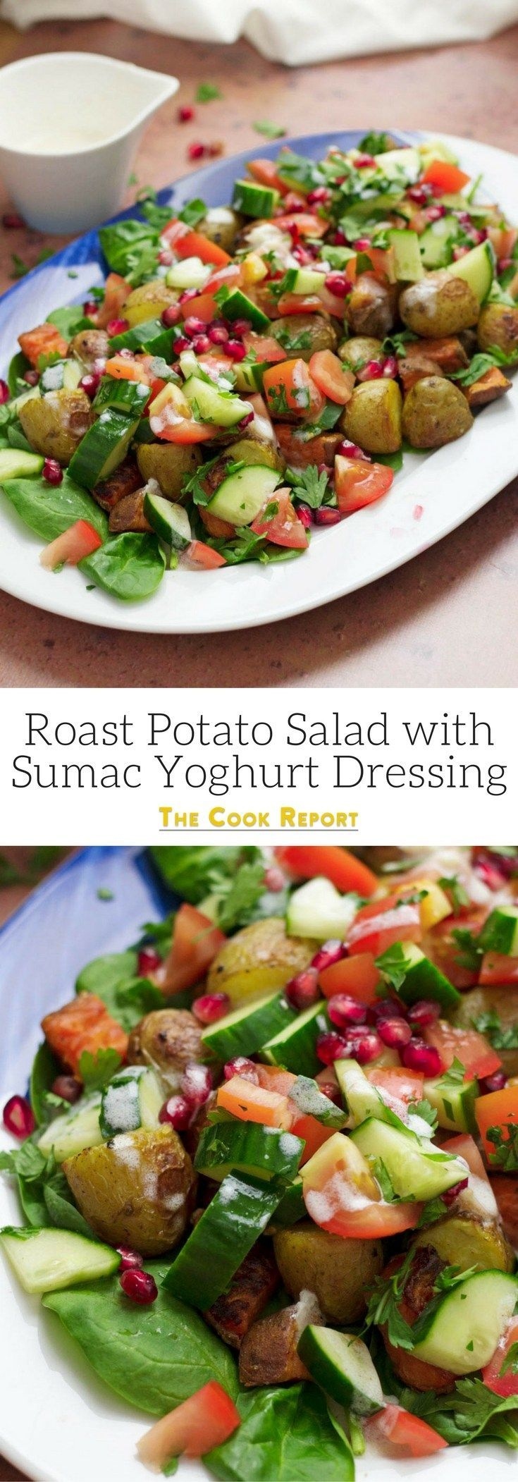 Forget about your boring old potato salad, this roast potato salad recipe uses normal & sweet potatoes with a sumac yoghurt dressing to make a tasty dinner!