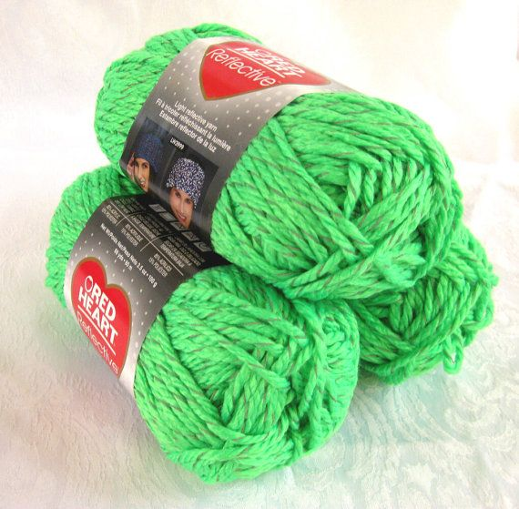Knitting Patterns For Red Heart Reflective Yarn : Red Heart Reflective yarn Bright Neon Green bulky by ...