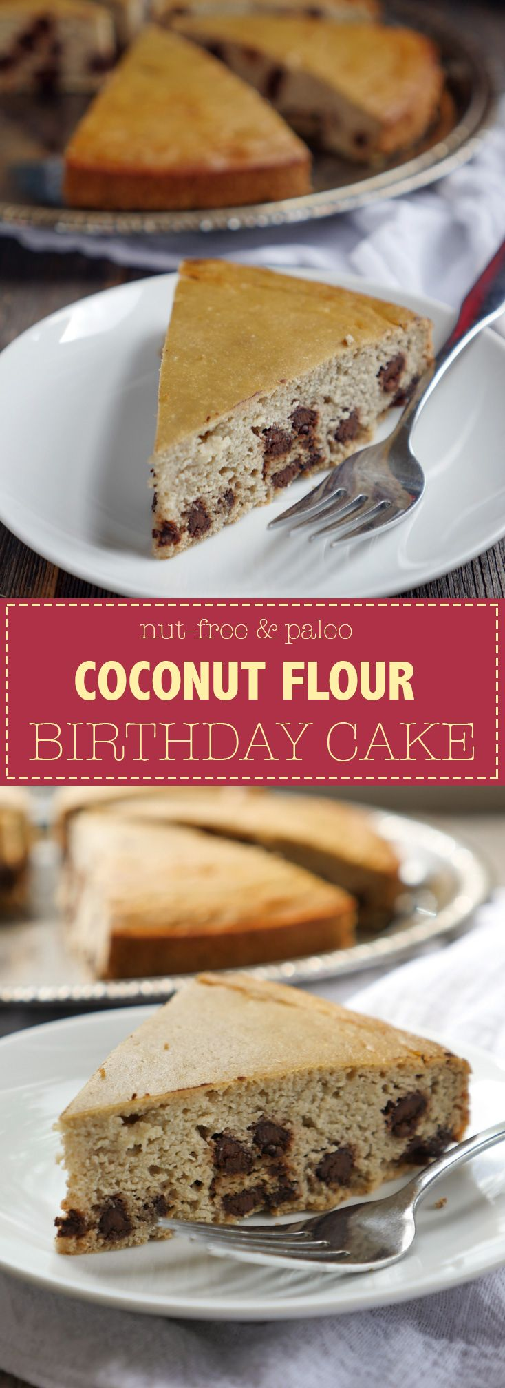Easy Coconut Flour Birthday Cake - paleo and nut-free. Recipe by Ashley of MyHeartBeets.com