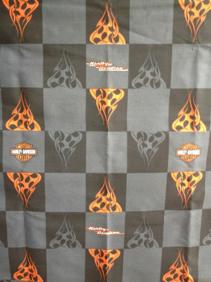 Harley Davidson Fabric (Shield and Flames)