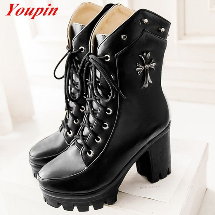 Woman's ankle boots 2015 Autumn winter fashion biker Black lacing fetish Waterproof platform pumps boots Knight Free shipping
