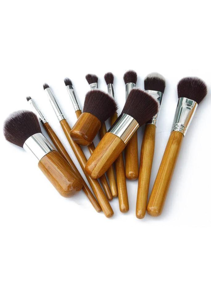 11 Pcs Bamboo Makeup Foundation Fiber Liner Eyeshadow Cosmetic Brush Set Bag Kit
