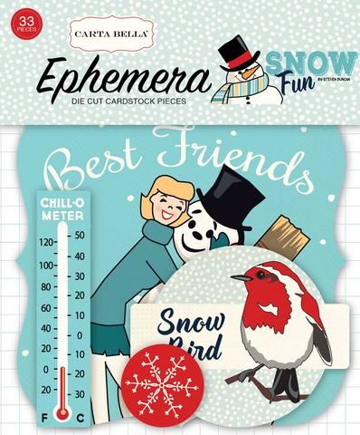 Carta Bella Snow Fun Collection Ephemera Die Cut Cardstock Pieces