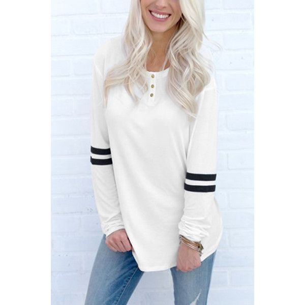 Yoins White and Black Round Neck Loose T-shirt with Button Design ($16) ❤ liked on Polyvore featuring tops, t-shirts, black, loose t shirt, loose tops, black white t shirt, long sleeve going out tops and night out tops