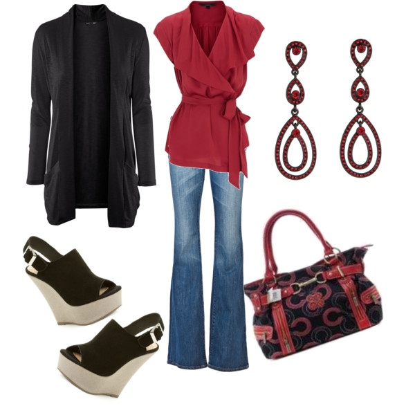 OutfitWraps Tops, Pretty Red, Fashion, Style, Closets, Clothing, Outfit, Red Shirts, Red Black