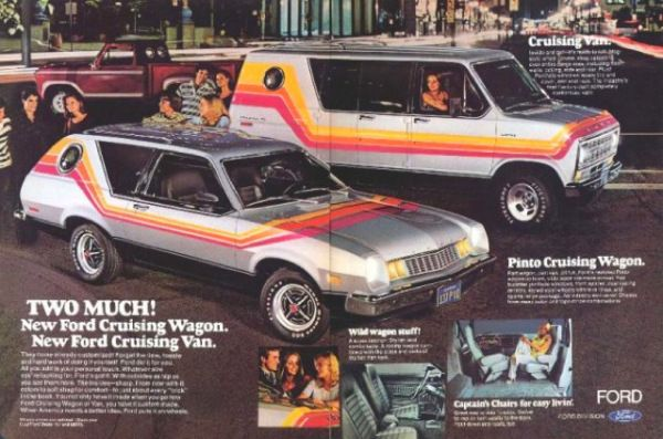 "New for 1977 was the ""Cruising Wagon"" option for the Ford Pinto. It featured bold graphics and a small circular rear, side window. It was part of Ford's ""Free Wheeling"" program to attract young buyers, as was the ""Cruising Van"" optioned Econoline in the background."