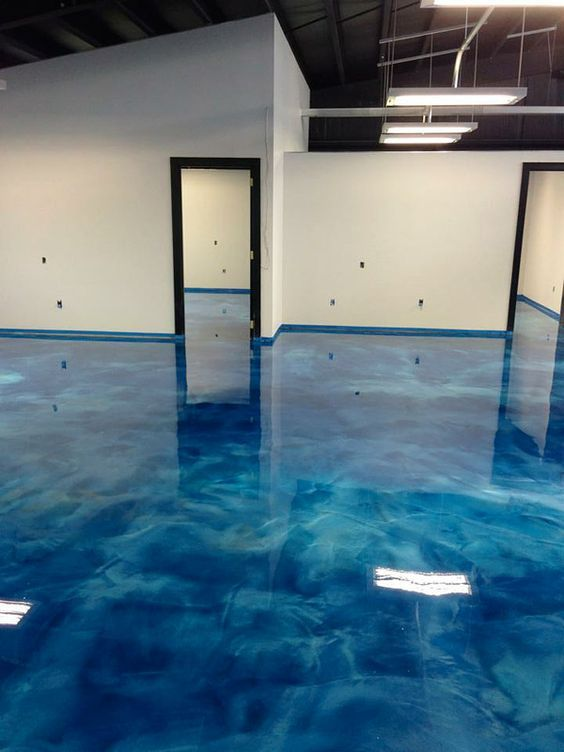 blue swirly concrete floor