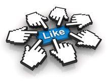 Concepto popular, haciendo clic como el botón Fotos de archivo libres de regalías