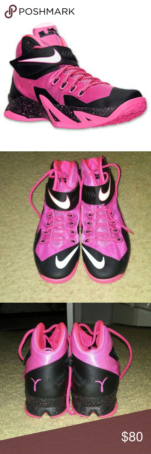 🎁NWOT- Nike Zoom LeBron Soldier 8🎁 Pink & black LeBron basketball shoes, brand new, no tags no box. These Lebrons were made to bring attention to breast cancer awareness and are mens size 17!!!! Price is definitely negotiable. Nike Zoom Shoes Athletic Shoes