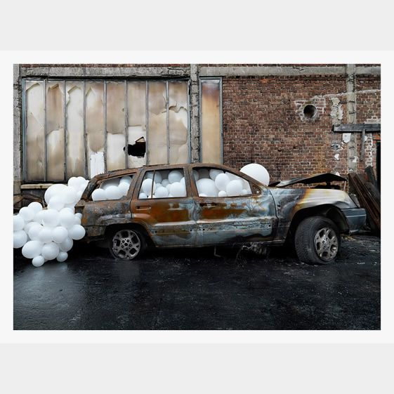 Charles Pétillon - The fragility of the balloons sits in tension with the sharp edges of industrial scenes, whereas in his rural settings, they appear a more comfortable if still incongruous part of the environment – clouds of gas bubbling from the earth, perhaps...